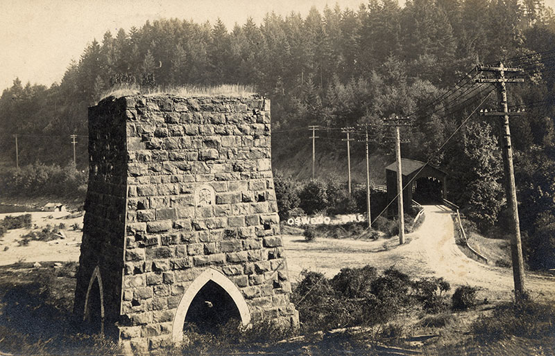 The old stack at the mouth of Oswego Creek. Courtesy of the Lake Oswego Public Library.