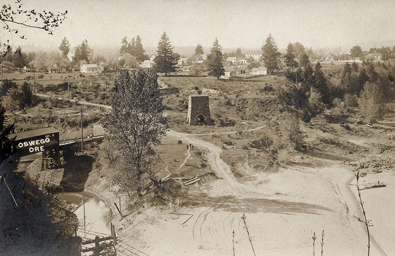 The abandoned furnace site at the mouth of Oswego Creek on the Willamette River. Photo courtesy of the Lake Oswego Public Library.