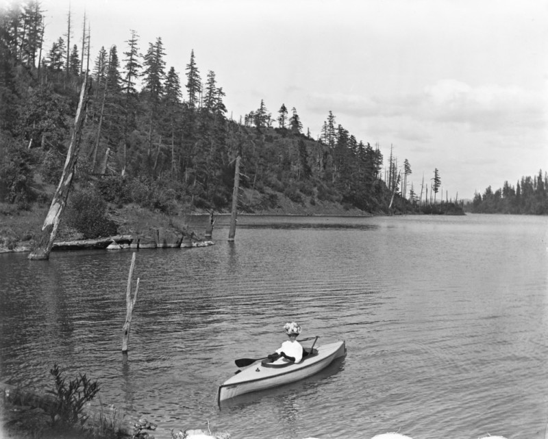 #690, Lillian Bickner, Canoe on Lake