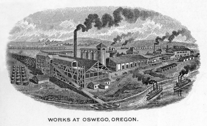 Engraving of O.I.&S. iron works